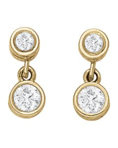 Earrings - 14K Yellow Gold - Single Stone - Style 40205