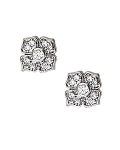 Earrings - 14K White Gold - Cluster - Style 40248