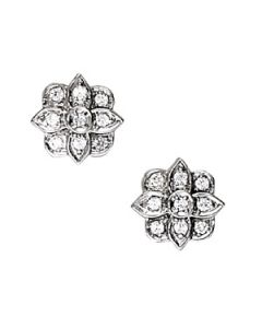 Earrings - 14K White Gold - Cluster - Style 40249