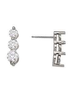 Earrings - 14K White Gold - 3 Stone - Style 40338