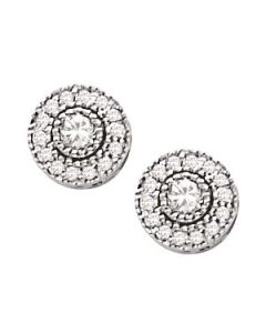 Earrings - 14K White Gold - Cluster - Style 40383