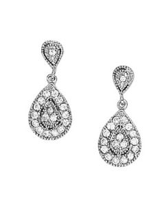 Earrings - 14K White Gold - Cluster - Style 40388