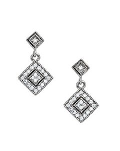Earrings - 14K White Gold - Cluster - Style 40389