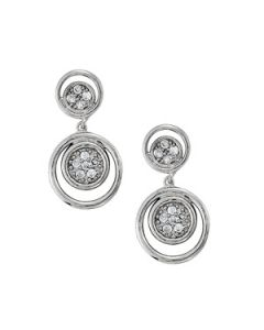 Earrings - 14K White Gold - Cluster - Style 40644