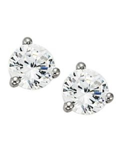 Earrings - 14K White Gold - Single Stone - Style 40873