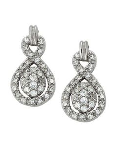 Earrings - 14K White Gold - Cluster - Style 40885