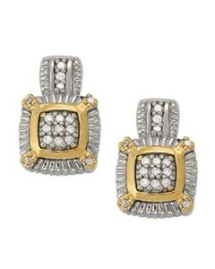 Earrings - Two Tone - Cluster - Style 40887