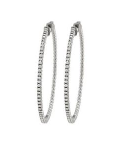 Earrings - 14K White Gold - Hoop Earring - Vault Lock - Style 40921
