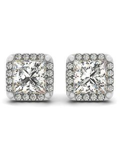 Earrings - 14K White Gold - Halo - Style 40933