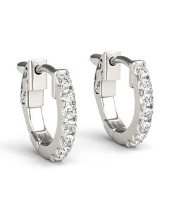 Earrings - 14K White Gold - Hoop Earring - Vault Lock - Inside Out Hoops - Style 40977