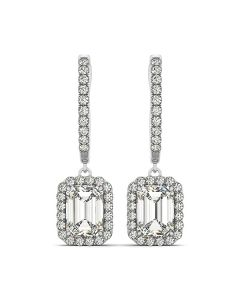 Earrings - 14K White Gold - Halo - Style 40996