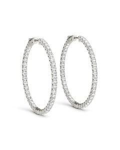 Earrings - 14K White Gold - Hoop Earring - Vault Lock - Inside Out Hoops - Style 41005