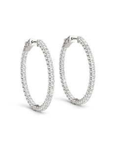 Earrings - 14K White Gold - Hoop Earring - Vault Lock - Inside Out Hoops - Style 41017