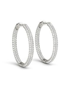 Earrings - 14K White Gold - Hoop Earring - Vault Lock - Inside Out Hoops - Style 41022