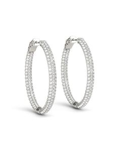 Earrings - 14K White Gold - Hoop Earring - Vault Lock - Inside Out Hoops - Style 41023
