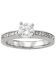 Engagement Ring - 14K White Gold - Single Row - Channel Set - Style 50285-E