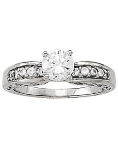 Engagement Ring - 14K White Gold - Antique - Style 50289-E