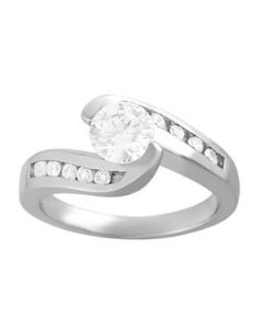 Engagement Ring - 14K White Gold - Bypass - Style 50342-E