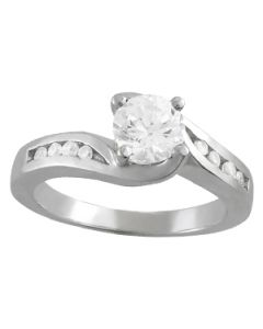 Engagement Ring - 14K White Gold - Bypass - Style 50344-E
