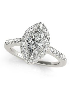 Engagement Ring - 14K White Gold - Halo - Marquise - Style 50375-E