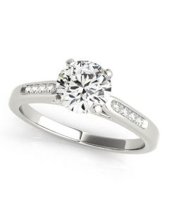 Engagement Ring - 14K White Gold - Single Row - Channel Set - Style 50379-E
