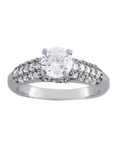 Engagement Ring - 14K White Gold - Pave - Style 50381-E