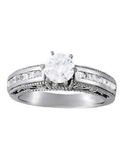 Engagement Ring - 14K White Gold - Antique - Style 50390-E