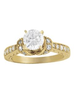 Engagement Ring - 14K Yellow Gold - Cluster Sides - Cluster - Style 50400-E