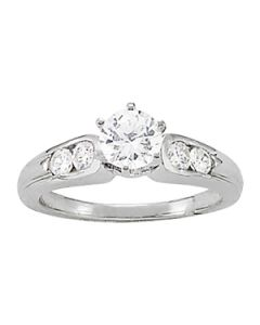 Engagement Ring - 14K White Gold - Single Row - Channel Set - Style 50404-E