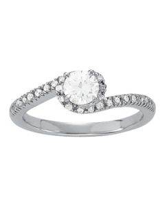 Engagement Ring - 14K White Gold - Bypass - Style 50426-E