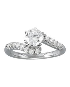 Engagement Ring - 14K White Gold - Bypass - Style 50450-E