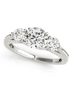 Engagement Ring - 14K White Gold - 3 Stone - Round - Style 50477-E