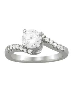 Engagement Ring - 14K White Gold - Bypass - Style 50490-E