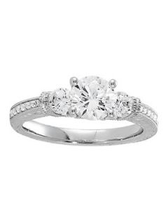 Engagement Ring - 14K White Gold - 3 Stone - Round - Style 50529-E