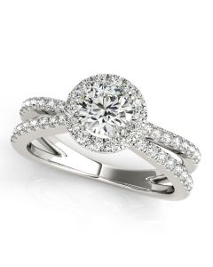 Engagement Ring - 14K White Gold - Halo - Round - Style 50531-E