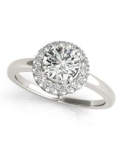 Engagement Ring - 14K White Gold - Halo - Round - Style 50533-E