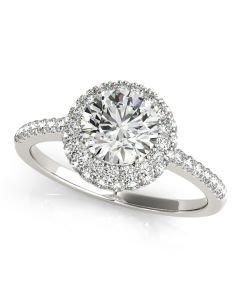 Engagement Ring - 14K White Gold - Halo - Round - Style 50534-E