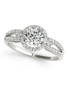 Engagement Ring - 14K White Gold - Halo - Round - Style 50537-E