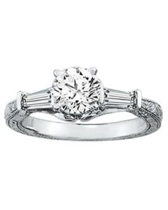 Engagement Ring - 14K White Gold - Antique - 3 Stone - Baguette - Style 50642-E