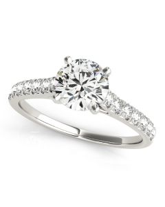 Engagement Ring - 14K White Gold - Single Row - Prong Set - Style 50655-E