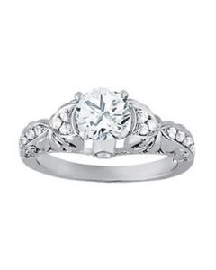 Engagement Ring - 14K White Gold - Antique - Cluster Sides - Cluster - Style 50784-E