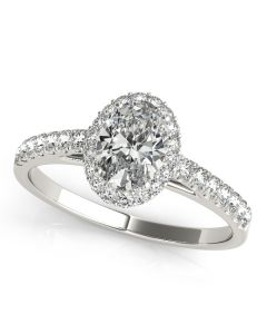 Engagement Ring - 14K White Gold - Halo - Oval - Style 50917-E