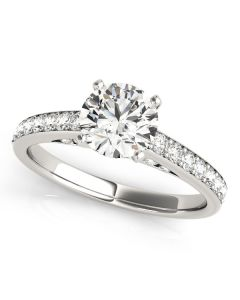 Engagement Ring - 14K White Gold - Single Row - Prong Set - Style 50943-E