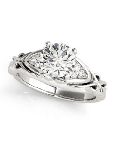 Engagement Ring - 14K White Gold - Cluster Sides - Cluster - Style 50947-E