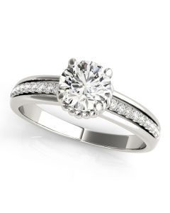 Engagement Ring - 14K White Gold - Single Row - Prong Set - Style 50958-E