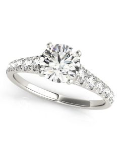 Engagement Ring - 14K White Gold - Single Row - Prong Set - Style 50979-E