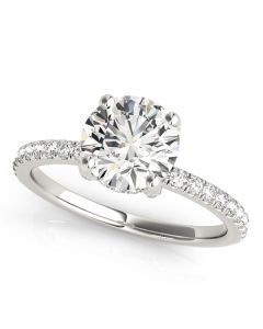 Engagement Ring - 14K White Gold - Single Row - Prong Set - Style 50981-E