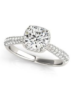 Engagement Ring - 14K White Gold - Pave - Halo - Round - Style 51009-E