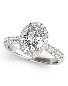 Engagement Ring - 14K White Gold - Pave - Halo - Oval - Style 51011-E