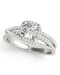 Engagement Ring - Two Tone - MultiRow - Halo - Cushion - Square - Square & Cushion - Style 51021-E